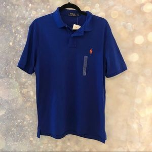NWT POLO RALPH LAUREN blue polo orange logo sz MED